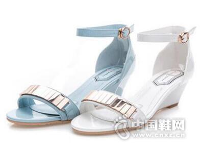 皇妹新款夏季金属亮片款韩版淑女坡跟中高跟女凉鞋