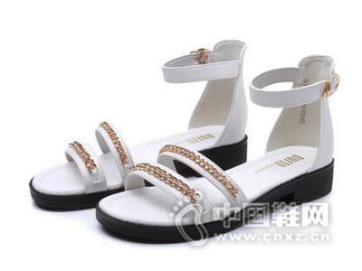 DUSTO/大东2016夏季新款韩版低跟方跟露趾时尚女鞋凉鞋