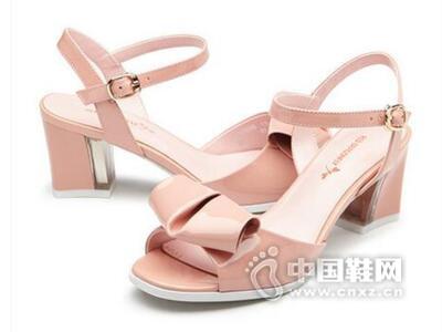 红蜻蜓2016夏季新款韩版时尚蝴蝶结粗跟清凉女鞋