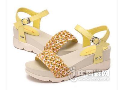 红蜻蜓2016夏季新款时尚皮条编织凉鞋女厚底松糕跟平底