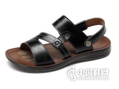 红蜻蜓2016夏季新款透气头层牛皮休闲沙滩鞋男鞋