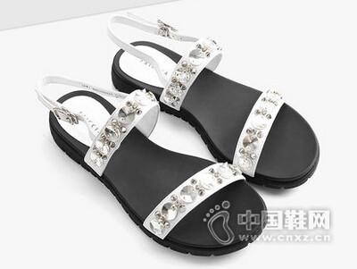 色非2016夏季新款韩版凉鞋女夏平底学生简约水钻平跟休闲女鞋