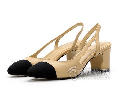 色非2016夏季裸色小香凉鞋女粗跟明星同款真皮高跟鞋