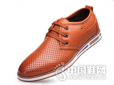 圣高2016韩版潮单鞋系带透气凉皮鞋镂空商务休闲皮鞋