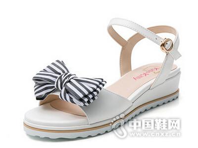 Kiss Kitty 2016夏新款甜美蝴蝶结羊皮凉鞋