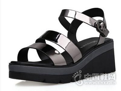 米薇卡2016新款一字扣韩版中跟百搭罗马凉鞋