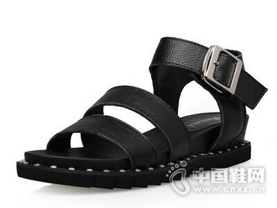 米薇卡2016韩版潮平跟罗马鞋搭扣休闲凉鞋