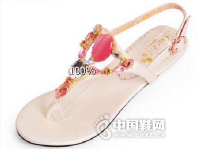 琪可朵2016夏季唯美水钻夹趾凉鞋舒适平底丁字带女鞋