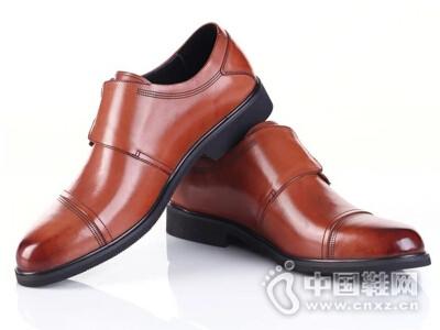 拉巴奴2016商务正装头层牛皮英伦风魔术贴搭扣男皮鞋