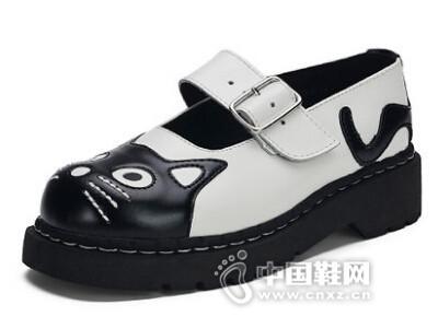 TUK2016日系森女猫咪圆头浅口复古松糕皮鞋