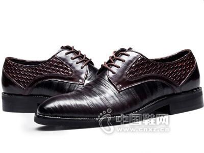 查理2016青年英伦透气系带尖头压花皮鞋
