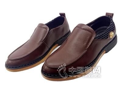 恒安利2016真皮圆头套脚桔色结实耐磨商务日常男鞋