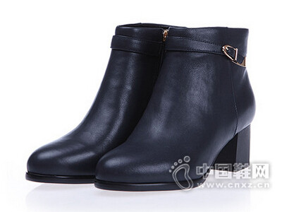 比莉华2016牛皮粗跟短靴