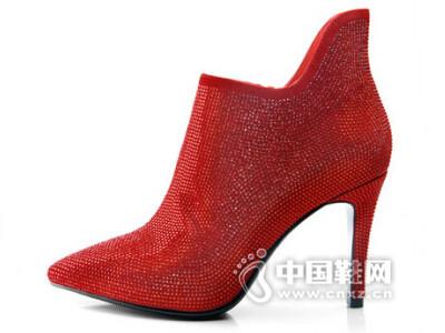 牧羊女2016水钻真皮女靴