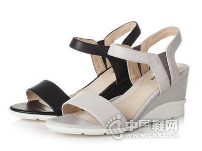 拔佳2017夏季中空时尚简约坡跟女鞋
