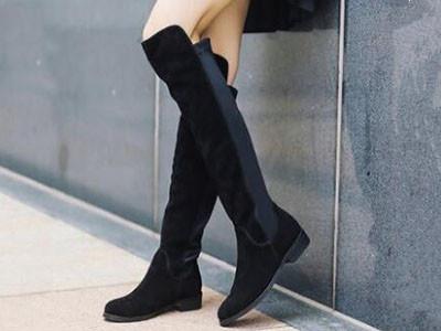 百丽2017冬长靴绒面过膝长筒靴