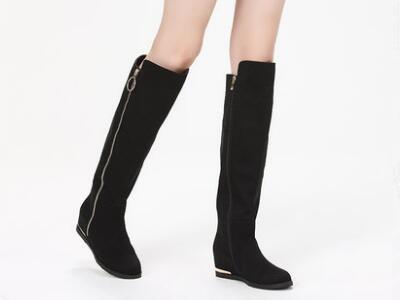 达芙妮2017冬平底低跟侧拉链过膝长靴