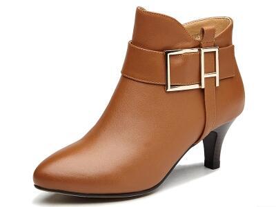 红蜻蜓2017冬欧美时尚高跟女靴