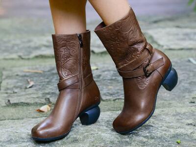相伴手工复古真皮女鞋