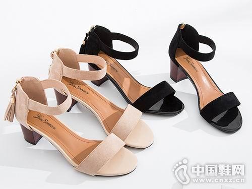 2018巨圣女鞋新款粗跟凉鞋