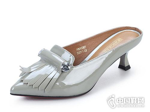 红科女鞋2018新款后空单鞋