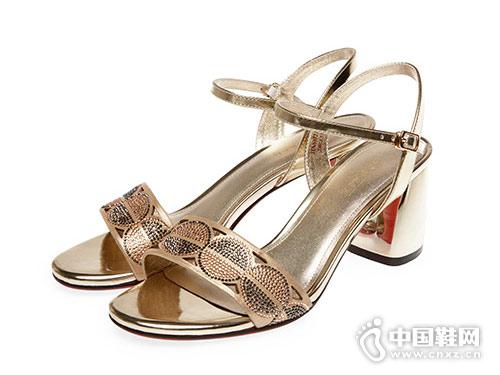 红科女鞋2018新款中跟凉鞋