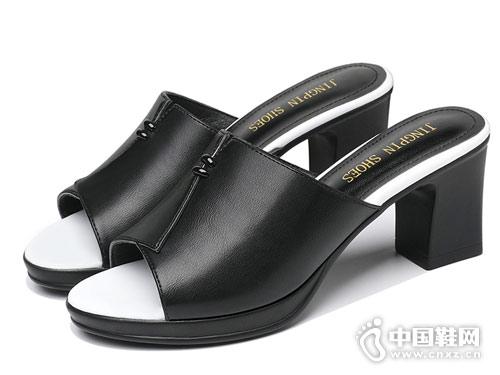 莫蕾蔻蕾女鞋2018新款粗跟凉拖鞋