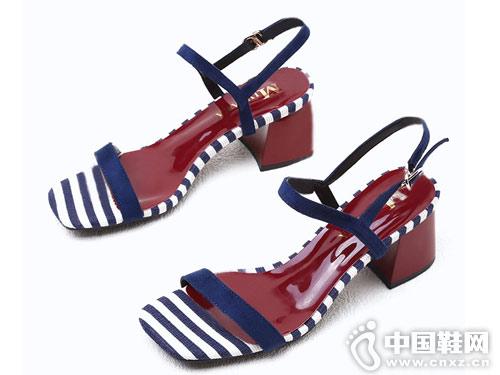 米薇卡女鞋2018新款粗跟凉鞋