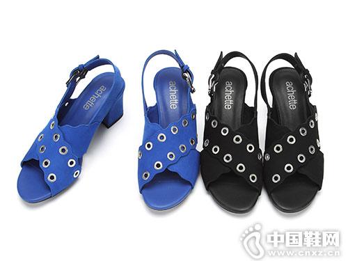 雅氏achette女鞋2018新款粗跟凉鞋