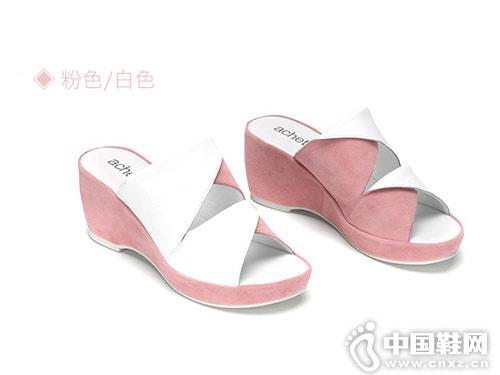 雅氏achette女鞋2018新款坡跟凉拖