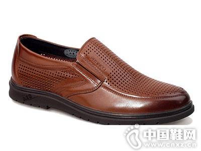 必登高皮鞋2018新款男士镂空皮鞋