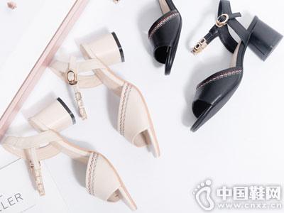 茉莉花女鞋2018新款粗跟凉鞋