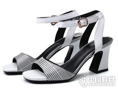 欧梦迪亚女鞋2018新款高跟凉鞋
