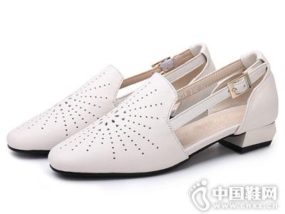 欧梦迪亚女鞋2018新款中空单鞋