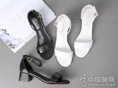 芭妮女鞋2018新款小粗跟凉鞋