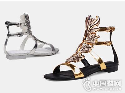 翡丽玫瑰女鞋2018新款平底凉鞋