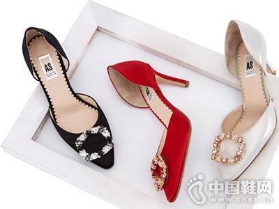 AS女鞋2018新款时尚高跟单鞋