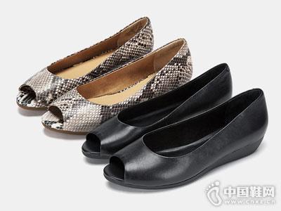 Aerosoles爱柔仕2018春季新款蛇纹鱼嘴浅口单鞋
