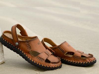 骆驼动感夏季包头凉鞋男真皮