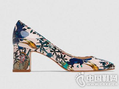 ZARA 女鞋 印花宽跟高跟鞋