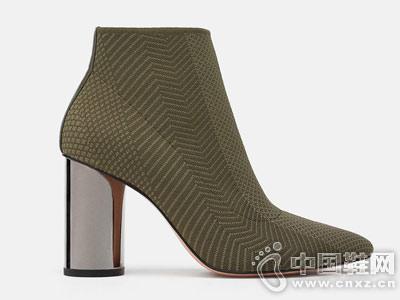ZARA 新款 女鞋 镀金属层鞋跟面料短靴