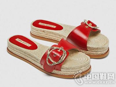 ZARA 女鞋 搭扣平底皮凉鞋