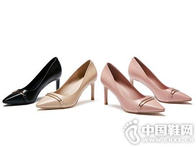 戈美其2018秋季新款韩版深口圆头拼色单鞋