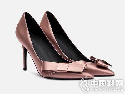 烫社交女鞋2018新款金粉色蝴蝶结细高跟鞋