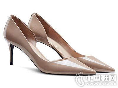 烫社交女鞋2018夏季新款裸色漆皮细高跟鞋