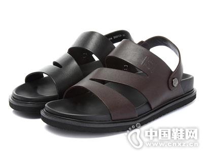 Senda森达2018新款男真皮凉鞋
