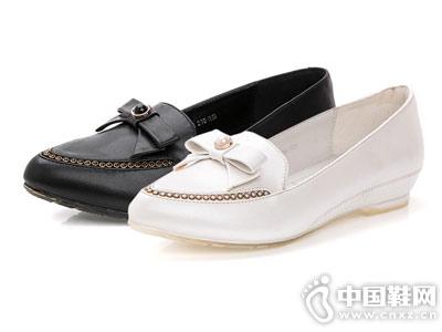 皇妹女鞋珍珠坡跟低跟内增高单鞋子