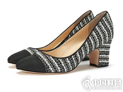 Ameda爱魅新款刺绣条纹亮片尖头浅口鞋