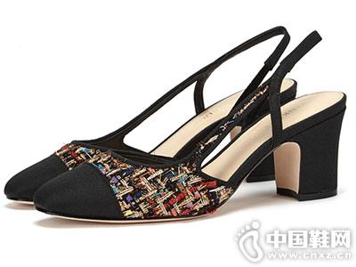 一字带中空尖头高跟女鞋单鞋