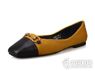 平底方头浅口单鞋Eiaimi依百媚新款